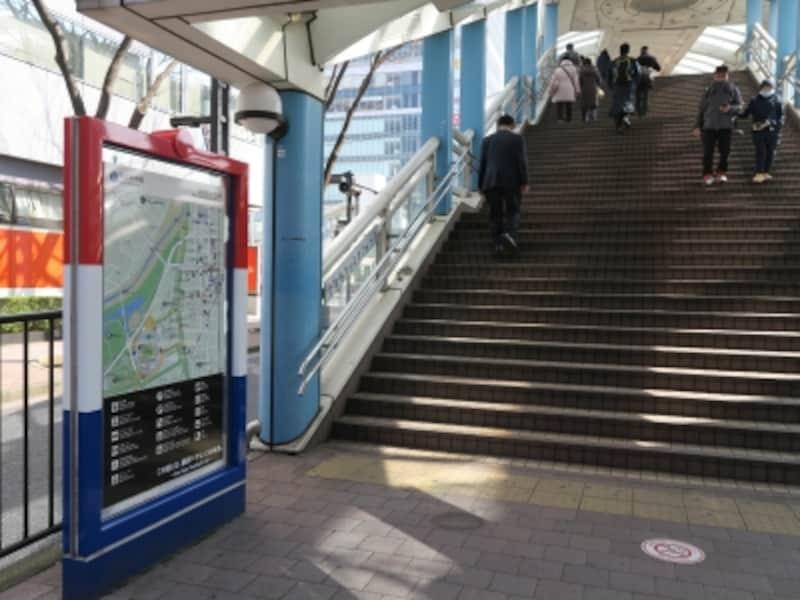 新横浜駅北口から日産スタジアムを結ぶ通りは、案内板などがトリコロール仕様の「F・マリノス通り」(2017年2月28日撮影)