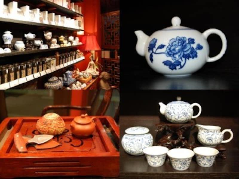 店内、茶器、茶葉