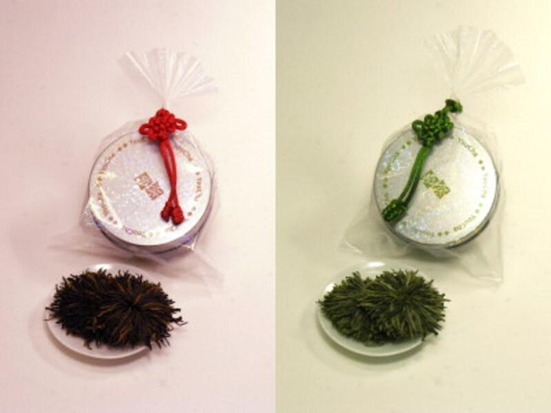 工芸茶「紅牡丹」と「黄山緑牡丹」