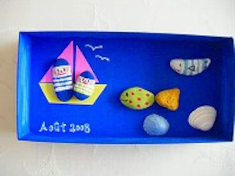 石ころアート魚1