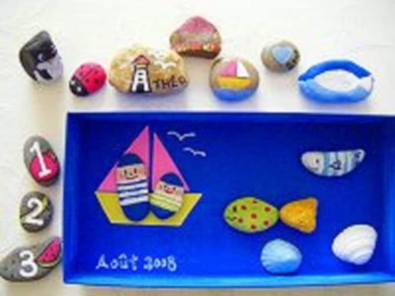 夏休みの工作に「石ころアート」で絵具遊び