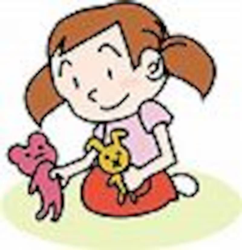 人形で遊んでいる女の子