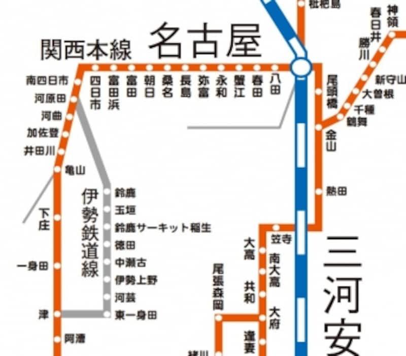 JR東海路線図:伊勢鉄道線の区間を通る列車の場合は別途運賃が必要です。