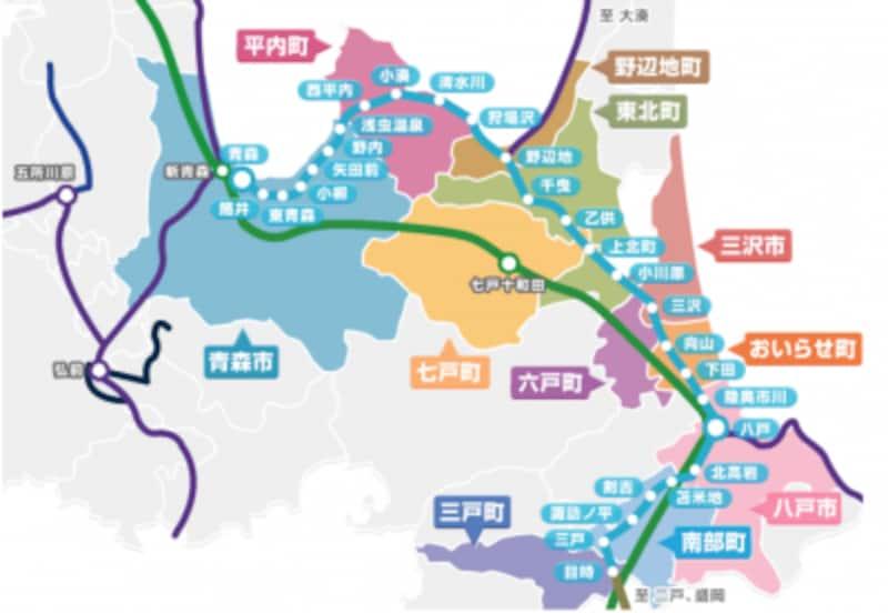 青い森鉄道路線図