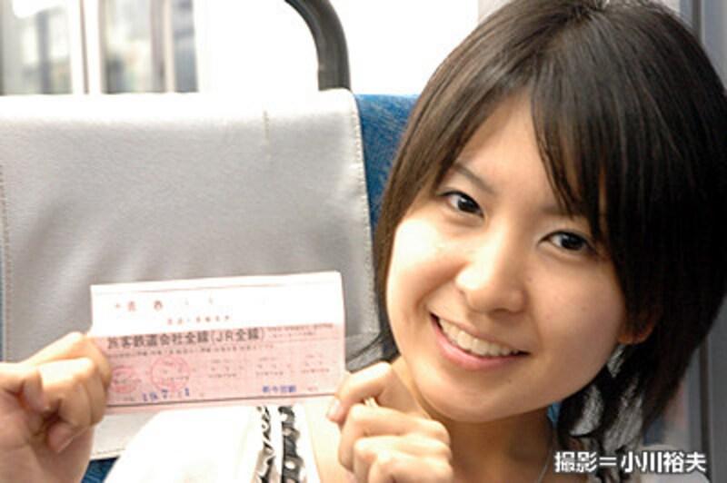 青春18きっぷを手にする木村裕子さん