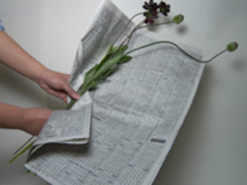 新聞紙でくるむ