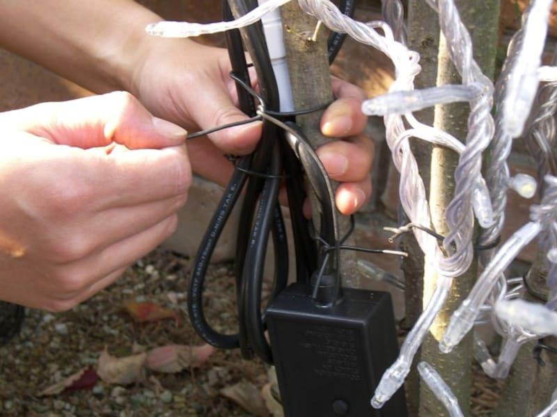 自宅の樹木へのイルミネーション飾り方・取り付け方・巻き方 手順6
