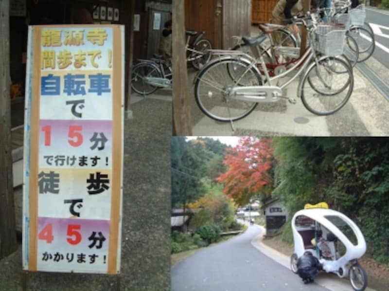 龍源寺間歩へのアプローチには自転車などが便利