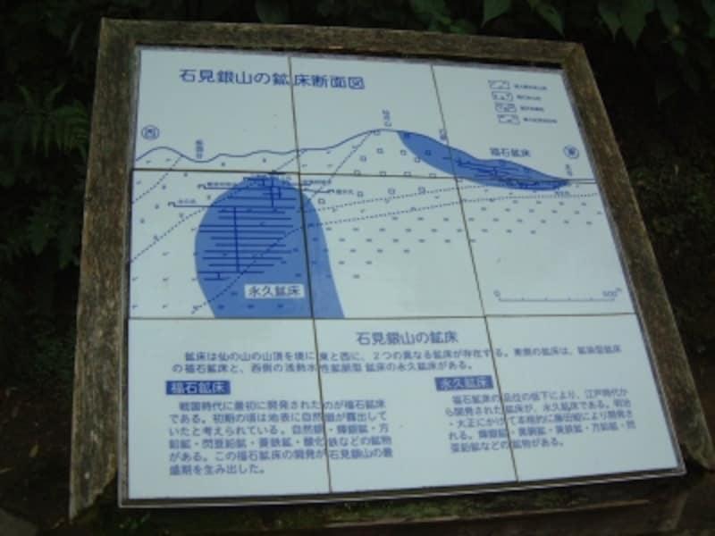 石見銀山・鉱床断面図