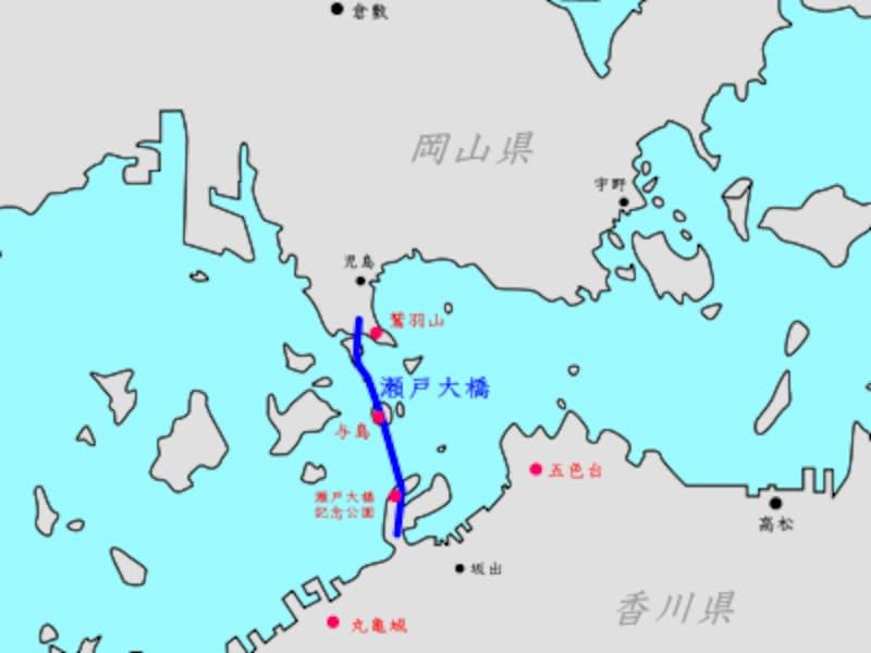 瀬戸大橋を眺められるスポットの地図