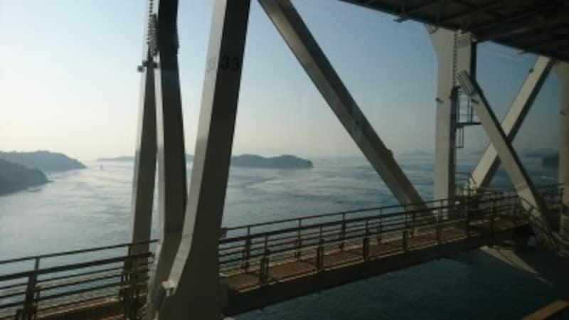 瀬戸大橋を渡る快速マリンライナーからの車窓