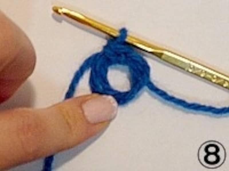 アクリルたわし(エコたわし)の編み方・作り方。手順8