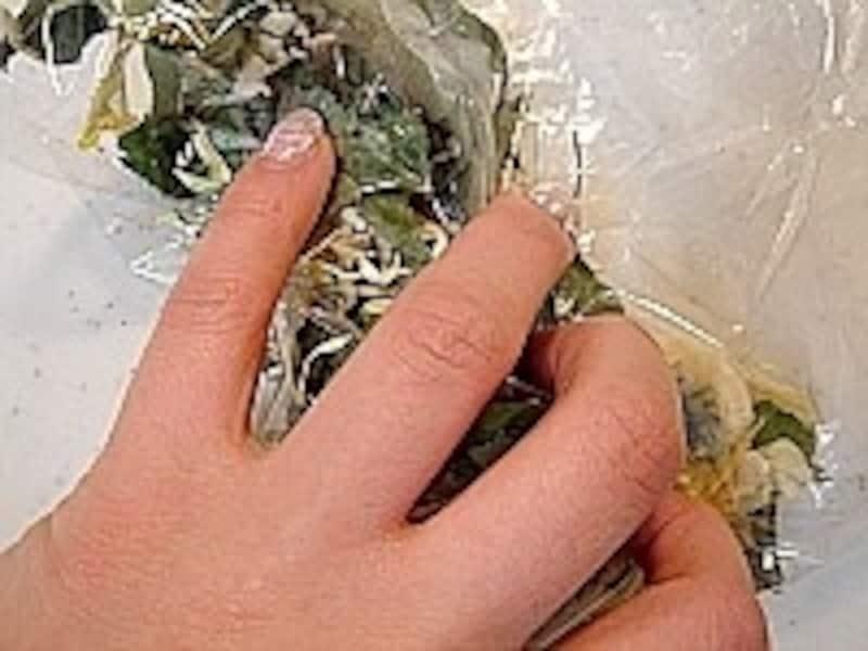 ドライポプリの作り方・手順3。袋をゆすったり揉んだりして、オイルを行き渡らせ、熟成させていきます