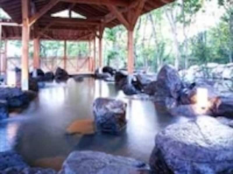ナラの雑木林に囲まれた、天然岩の露天風呂