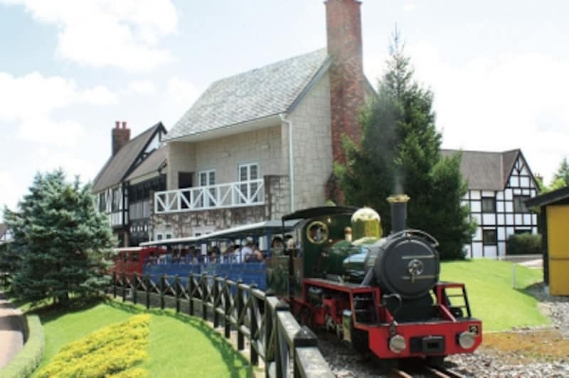 通年、季節ごとの花を楽しめる庭園がすばらしい。広い園内では虹の郷ロムニー電車が園内を走る