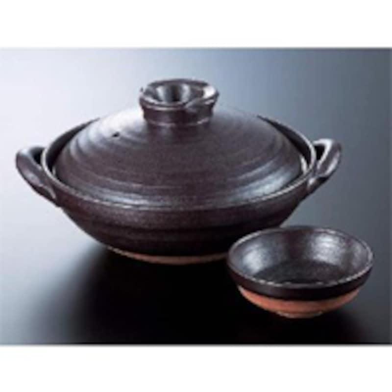 万古焼(萬古焼) 黒い土鍋6号 天目