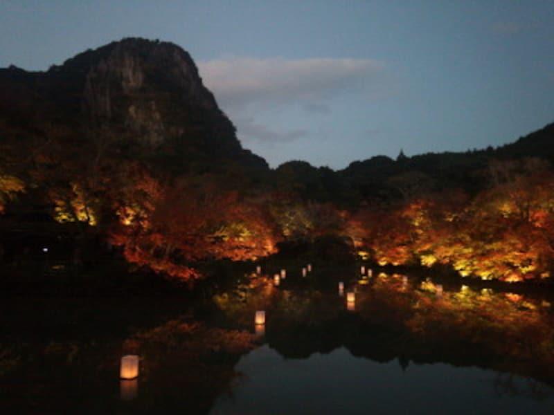 御船山楽園の紅葉ライトアップ