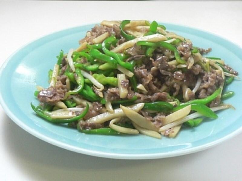 竹の子とピーマンと牛肉の炒め物