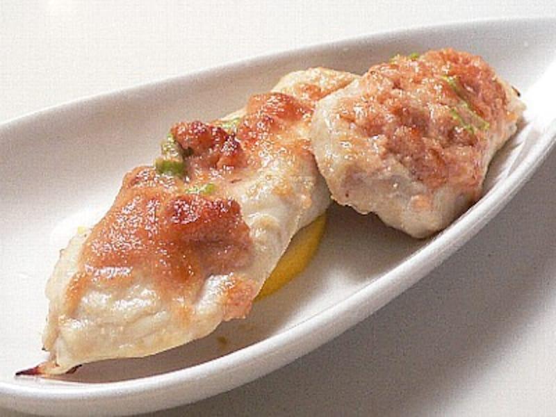鶏笹身の鱈子焼き