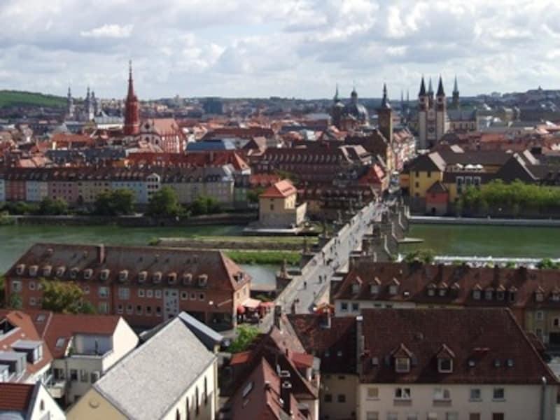 ロマンチック街道始点、ヴュルツブルク旧市街の眺め