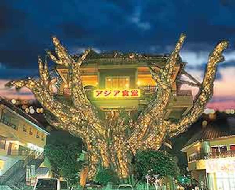 那覇空港から市内に向かうと出現する巨大ガジュマルのバンヤンタウン