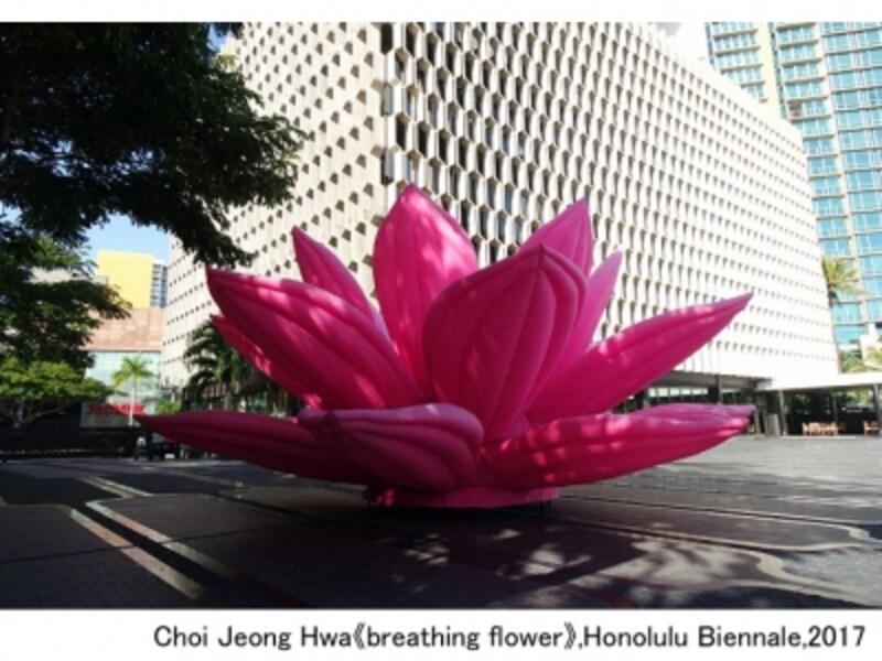 メインビジュアルに使われている「ブレシングフラワー」は日本丸メモリアルパークにて2017年10月15日~11月5日まで展示予定。ChoiJeongHwa《breathingflower》,HonoluluBiennale,2017(画像提供:横浜市)