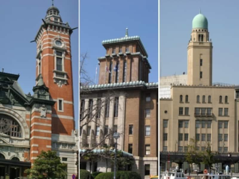 関内エリアにある歴史的建造物・横浜三塔。左からジャック・キング・クイーン