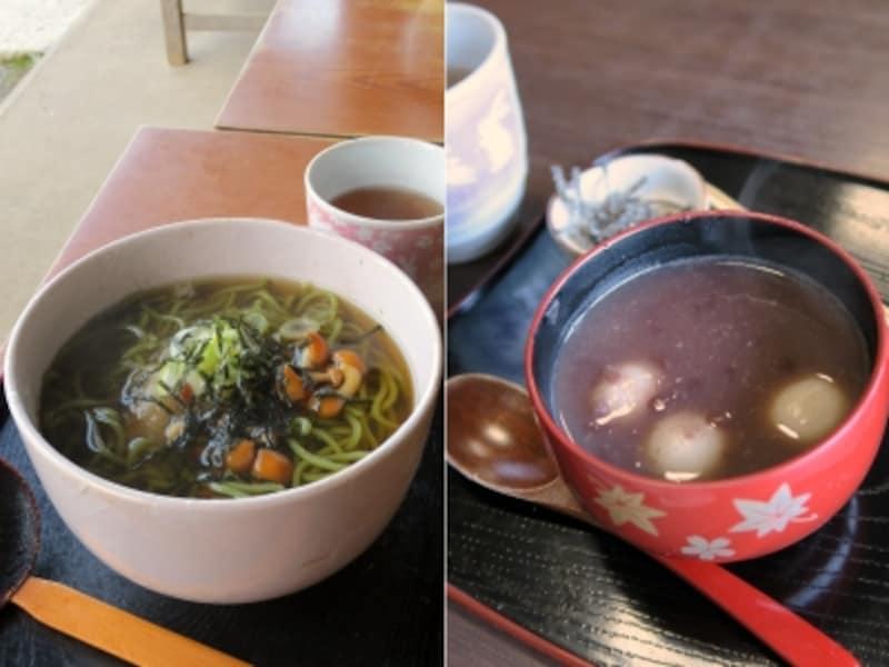 三溪園茶寮の茶そば(850円)とおしるこ(600円)(2014年12月3日撮影)