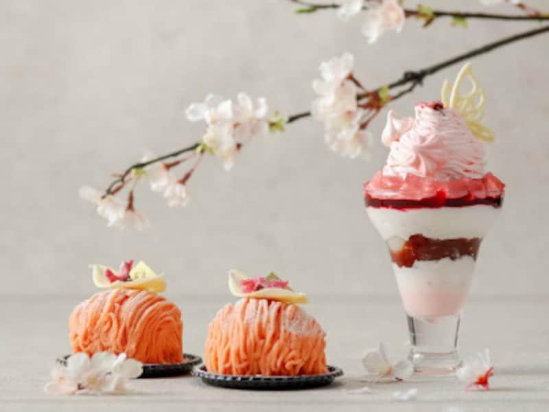 桜モンブラン(825円)、桜パフェ(1595円)※いずれも税込、サ料別(画像提供:ホテルニューグランド)