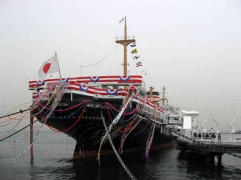 2008年4月25日、「日本郵船氷川丸」としてリニューアルオープン。セレモニーのようす(2008年4月撮影)