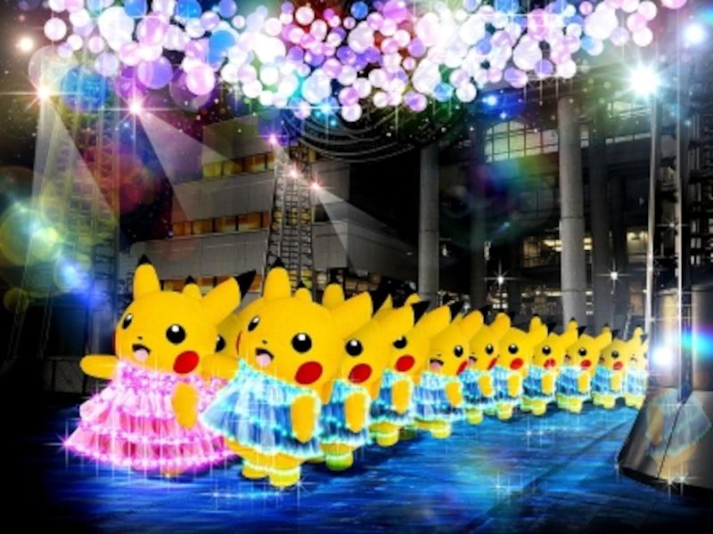「かがくのちからってすげー!」と思わず叫ぶ、夜の演出が初開催。ピカチュウの大行進(夜)のイメージ(画像提供:ポケモン)