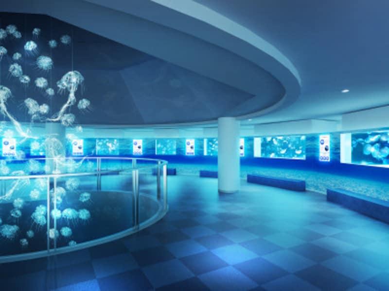 リニューアルした3階のクラゲゾーン(全体のイメージ、画像提供:横浜・八景島シーパラダイス)