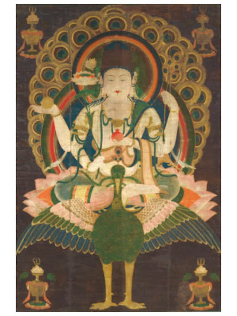 国宝《孔雀明王像》平安時代後期(12世紀)、東京国立博物館蔵、Image:TNMImageArchives 7月13日~8月7日までの期間限定出品なのでお見逃しなく(画像提供:横浜美術館)
