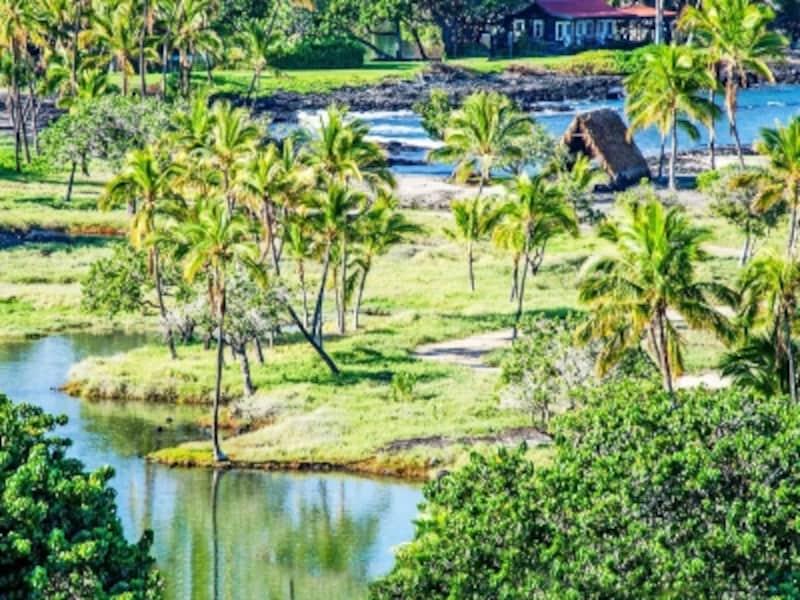 リゾート内の歴史保存公園。神聖な儀式が行われた養殖池は、昔からの姿で保存されている