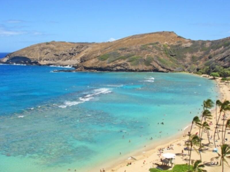 エメラルドグリーンの海に白い砂浜、サンゴ礁の間で泳ぐ熱帯魚。ハナウマ湾は映画『ブルーハワイ』のロケ地としても有名