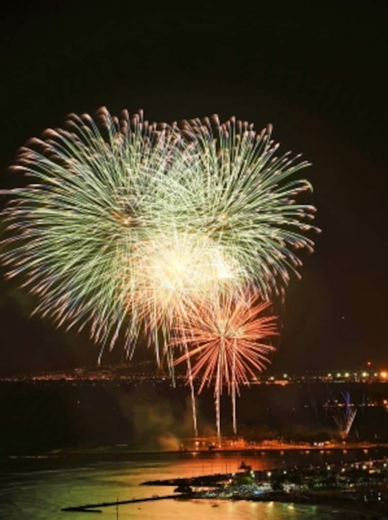 独立記念日の夜、約1800発もの花火が打ち上げられるアラモアナ・ビーチパーク。前夜から場所取りをする人も