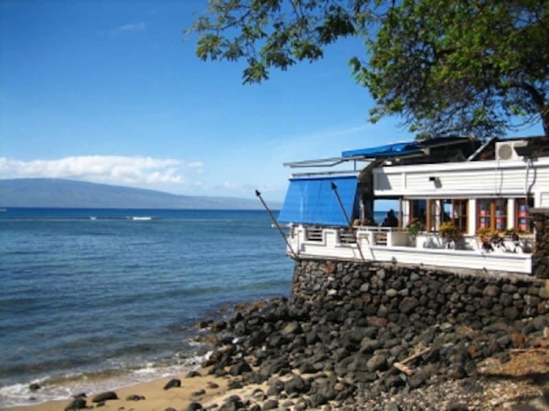 マウイ島ラハイナの海沿いレストランなら、食事をしながらクジラが見れるチャンスも!