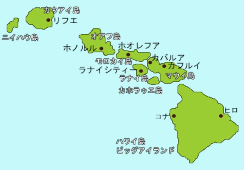 ハワイ諸島マップ