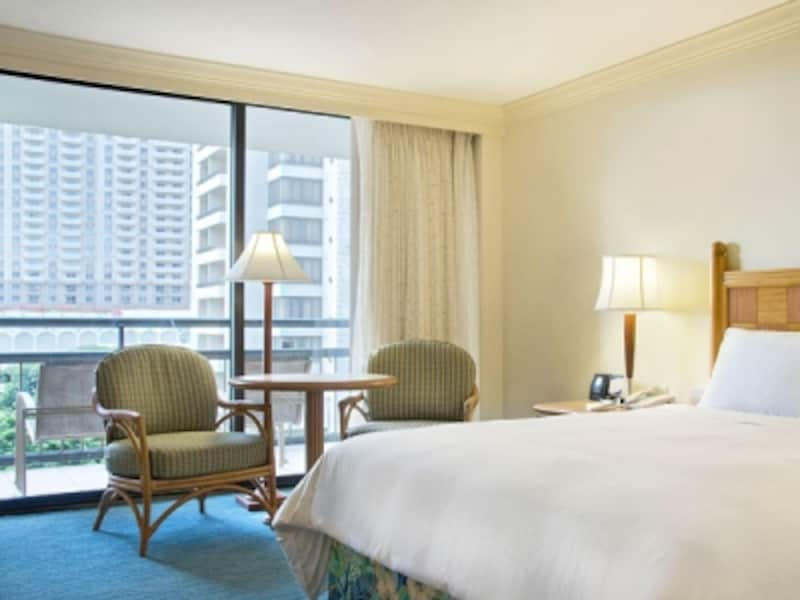 最もリーズナブルなダイヤモンドヘッド・タワーのリゾートビュー。実はヒルトンの通常客室No.1の広さ