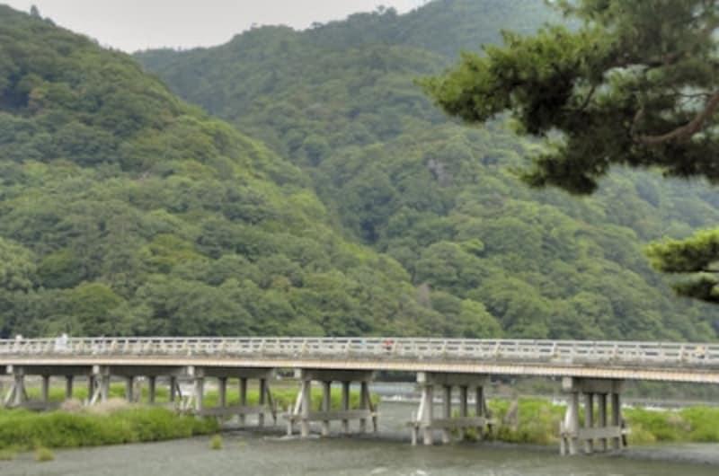 嵐山にある渡月橋。山と川と橋が一体となって美しい景色を作り出しています。
