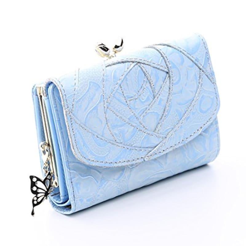 ANNA SUI アナスイ,バラ 3つ折り財布 がま口 レディース 三つ折り かぶせ さいふ (ブルー)