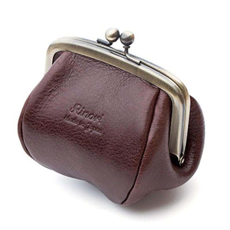 Rinori (日本製), がま口 コインケース 財布 革 レディース プックリかわいい手のひらサイズ ブラウン