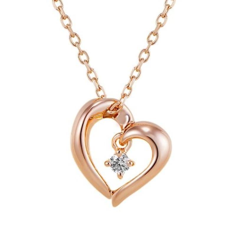 canal4℃ ダイヤモンド ハート SILVER シルバー ピンクゴールドコーティング ネックレス