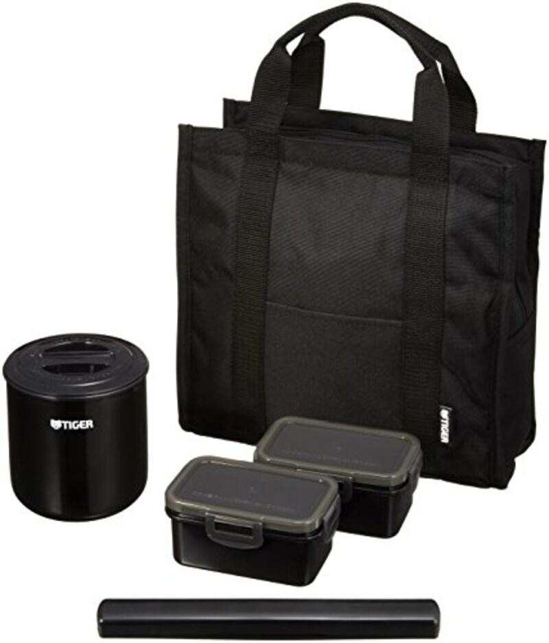 タイガー 魔法瓶, 保温 弁当箱 ステンレス ランチ ジャー 茶碗約 1.8 杯分 トートバッグ付き ブラック ,LWY-T036-K