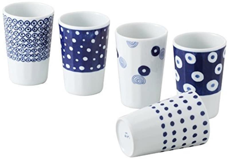 藍丸紋 軽量フリーカップ揃え5PC