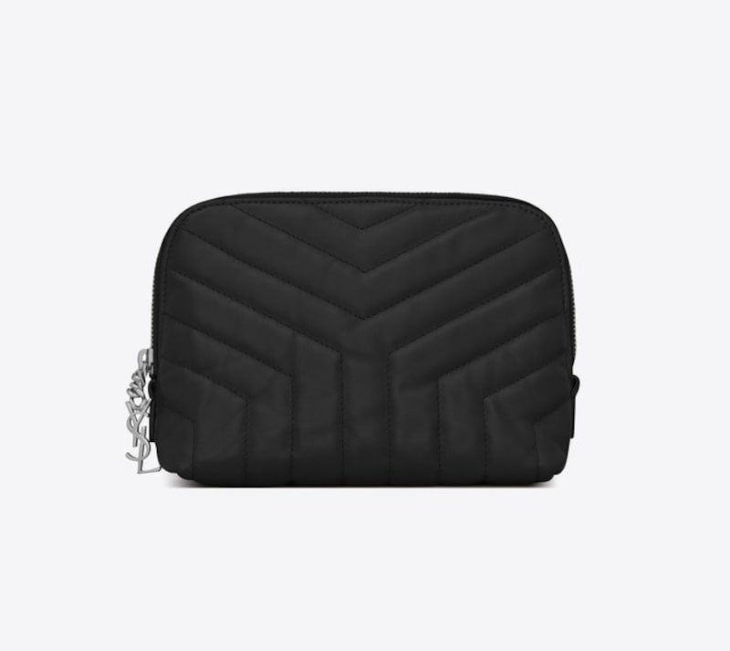 """LOULOU MAKEUP BAG IN SHINY BLACK LEATHER WITH """"Y""""QUILTING"""