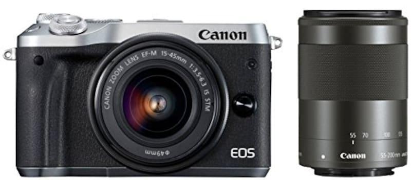 Canon ミラーレス一眼カメラ EOS M6 ダブルズームキット(シルバー) EF-M15-45mm/EF-M55-200mm 付属 EOSM6SL-WZK