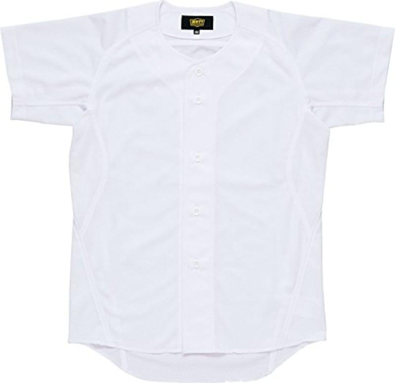 ZETT(ゼット) 野球 少年用 ユニフォーム メッシュ フルオープン シャツ メカパン ホワイト(1100) BU2181MS