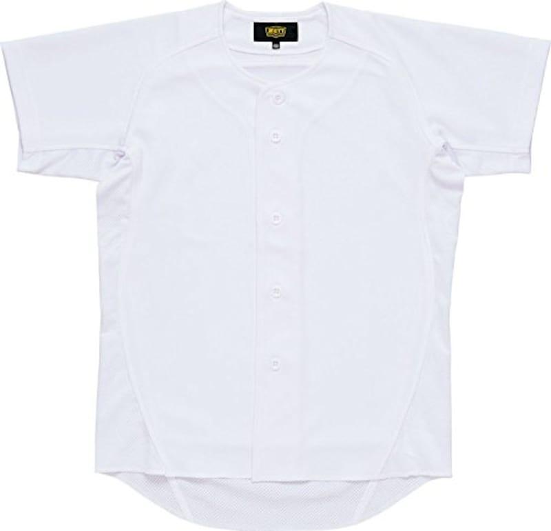 ZETT(ゼット) 野球 少年用 ユニフォーム メッシュ フルオープン シャツ メカパン ホワイト(1100) BU2181S 150