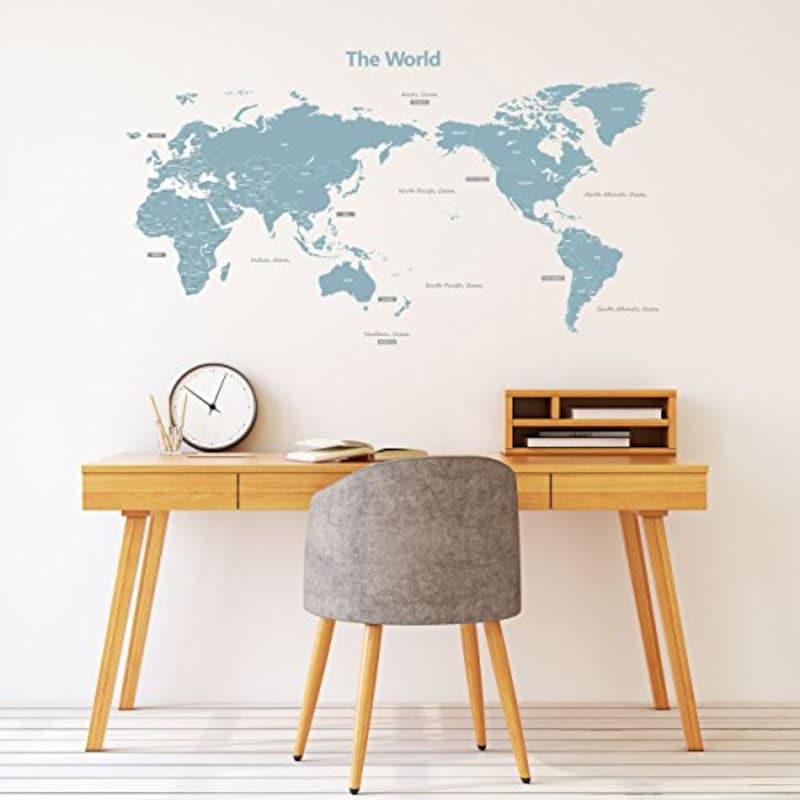 DECOWALL モダンブルー 世界地図 ウォール ステッカー